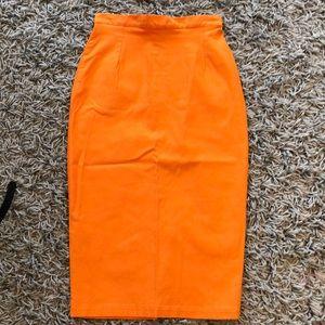 Beautiful tangerine pencil skirt